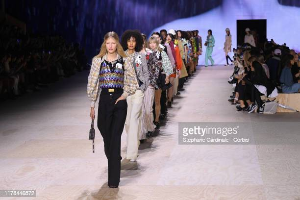 Models walk the runway during the Louis Vuitton Womenswear Spring/Summer 2020 show as part of Paris Fashion Week on October 01, 2019 in Paris, France.