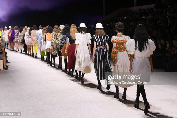 Models walk the runway during the Louis Vuitton Womenswear Spring/Summer 2020 show as part of Paris Fashion Week on October 01 2019 in Paris France