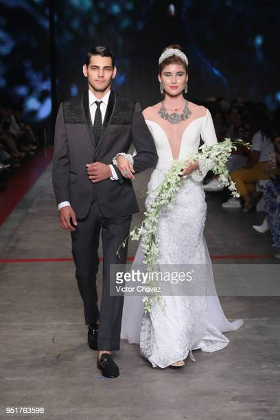 Models walk the runway during the Lydia Lavin show at Mercedes Benz Fashion Week Mexico Fall/Winter 2018 at Fronton Mexico on April 26 2018 in Mexico...