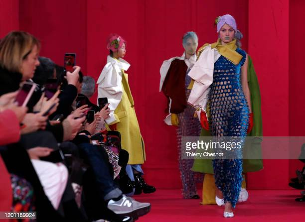 Models walk the runway during the Maison Margiela Haute Couture Spring/Summer 2020 show as part of Paris Fashion Week on January 22, 2020 in Paris,...