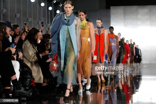 Models walk the runway during the Maison Margiela show as part of the Paris Fashion Week Womenswear Fall/Winter 2020/2021 on February 26, 2020 in...