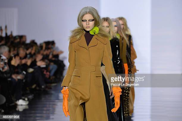 Models walk the runway during the Maison Margiela show as part of the Paris Fashion Week Womenswear Fall/Winter 2015/2016 on March 6 2015 in Paris...