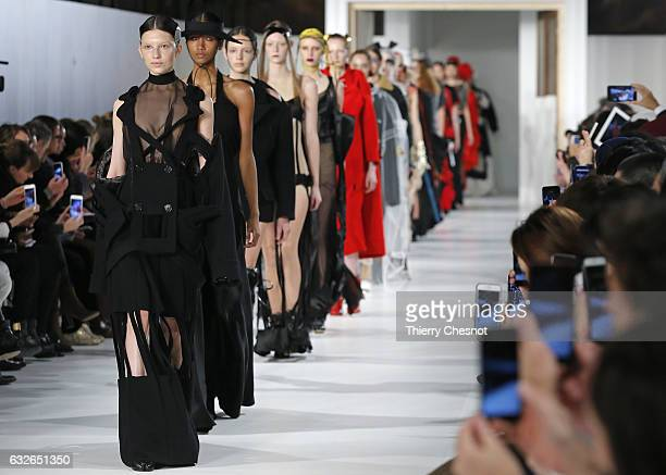 Models walk the runway during the Maison Margiela Spring Summer 2017 show as part of Paris Fashion Week on January 25, 2017 in Paris, France.