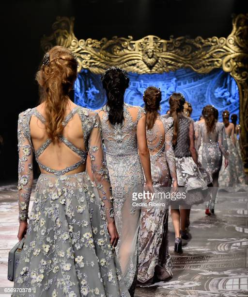Models walk the runway during the Michael Cinco show at Fashion Forward March 2017 held at the Dubai Design District on March 23 2017 in Dubai United...