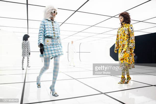Models walk the runway during the Moncler fashion show as part of Milan Fashion Week Fall/Winter 20202021 on February 19 2020 in Milan Italy