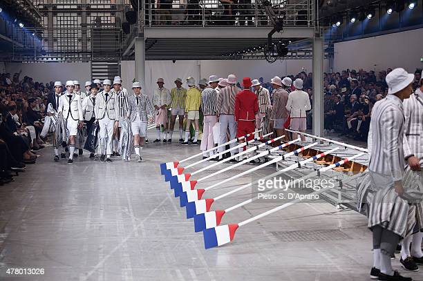 Models walk the runway during the Moncler Gamme Bleu fashion show as part of Milan Men's Fashion Week Spring/Summer 2016 on June 21 2015 in Milan...