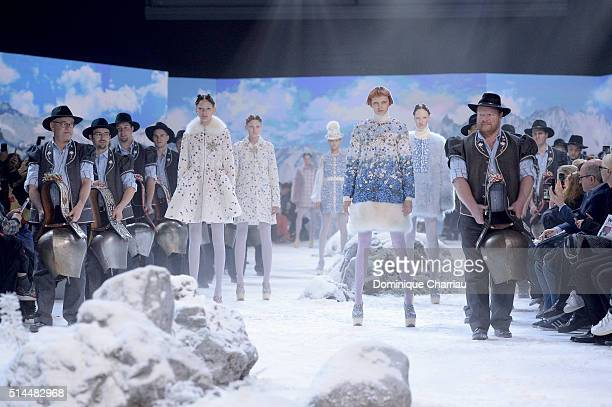 Models walk the runway during the Moncler Gamme Rouge show as part of the Paris Fashion Week Womenswear Fall/Winter 2016/2017 on March 9 2016 in...