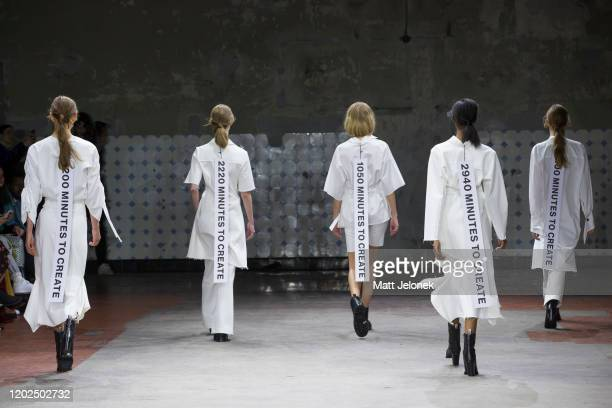 Models walk the runway during the Mykke Hofmann show during Copenhagen Fashion Week Autumn/Winter 2020 on January 28, 2020 in Copenhagen, Denmark.