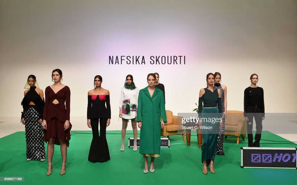 Models walk the runway during the Nafsika Skourti Presented by EPICxSamsung presentation at Fashion Forward March 2017 held at the Dubai Design District on March 23, 2017 in Dubai, United Arab Emirates.