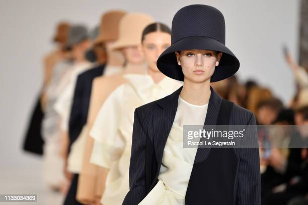 Models walk the runway during the Nina Ricci show as part of the Paris Fashion Week Womenswear Fall/Winter 2019/2020 on March 01 2019 in Paris France