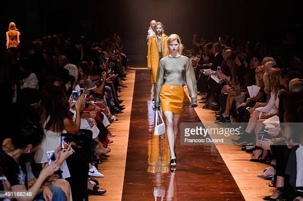 Models walk the runway during the Nina Ricci show as part of the Paris Fashion Week Womenswear Spring/Summer 2016 on October 3 2015 in Paris France
