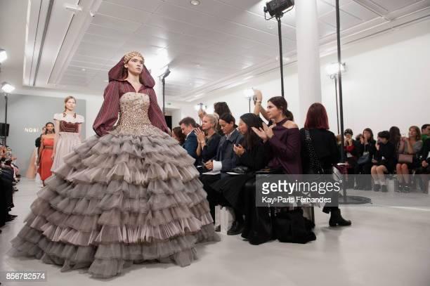 Models walk the runway during the Nobi Talai Paris show as part of the Paris Fashion Week Womenswear Spring/Summer 2018 on October 2 2017 in Paris...