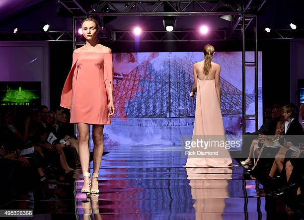 Models walk the runway during the Off The Record High End Fashion event on November 1 2015 in Nashville Tennessee Featuring national designers John...