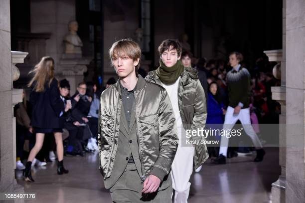Models walk the runway during the Officine Generale Menswear Fall/Winter 20192020 show as part of Paris Fashion Week on January 20 2019 in Paris...