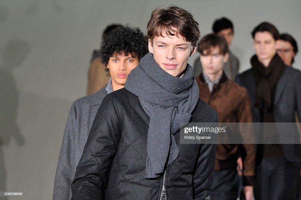 Models walk the runway during the Officine Generale Menswear Fall/Winter 2016-2017 show as part of Paris Fashion Week on January 24, 2016 in Paris, France.