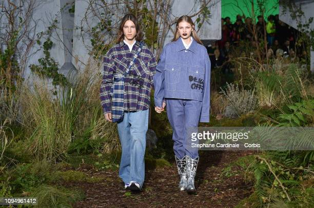 Models walk the runway during the OffWhite Menswear Fall Winter 2019/2020 show as part of Paris Fashion Week on January 16 2019 in Paris France