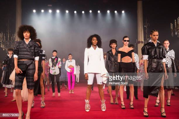 Models walk the runway during the Off/White show as part of Paris Fashion Week Womenswear Spring/Summer 2018 on September 28 2017 in Paris France