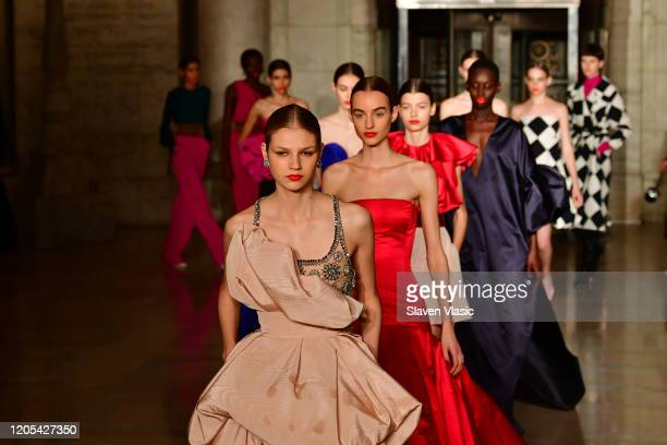 Models walk the runway during the Oscar De La Renta Show - February 2020 New York Fashion Week: The Shows at The New York Public Library on February...