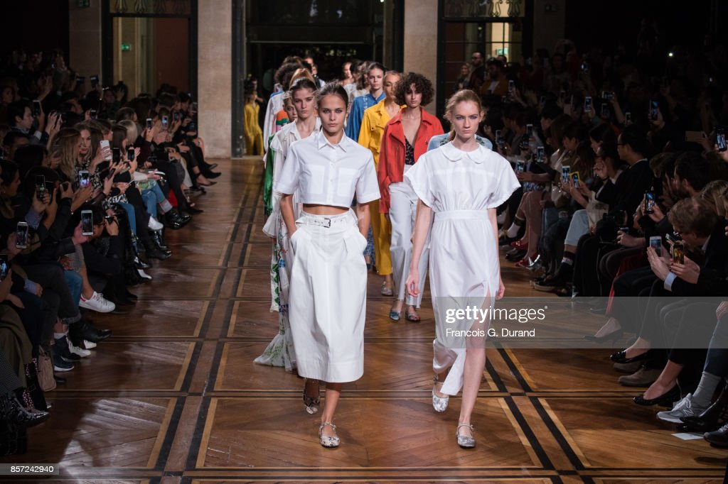 Models walk the runway during the Paul & Joe Paris show as part of the Paris Fashion Week Womenswear Spring/Summer 2018 on October 3, 2017 in Paris, France.
