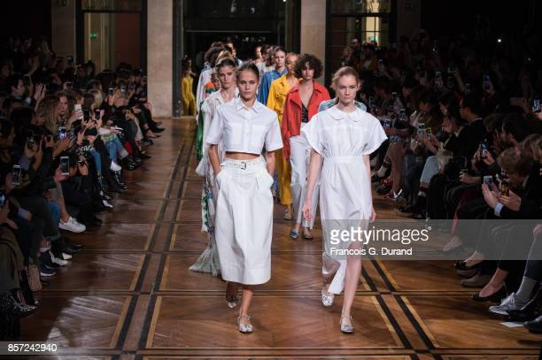 Models walk the runway during the Paul & Joe Paris show as part of the Paris Fashion Week Womenswear Spring/Summer 2018 on October 3, 2017 in Paris,...