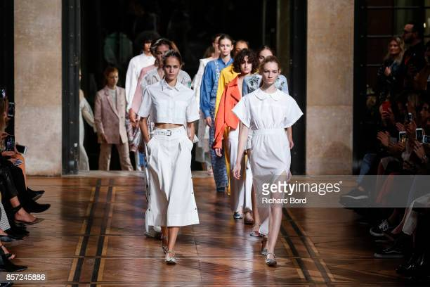 Models walk the runway during the Paul & Joe show at Palais des beaux Arts as part of Paris Fashion Week Womenswear Spring/Summer 2018 on October 3,...