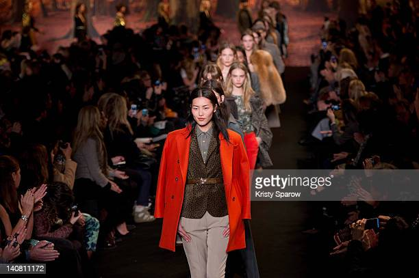 Models walk the runway during the Paul&Joe Ready-To-Wear Fall/Winter 2013 show as part of Paris Fashion Week at Espace Cambon Capucines on March 6,...