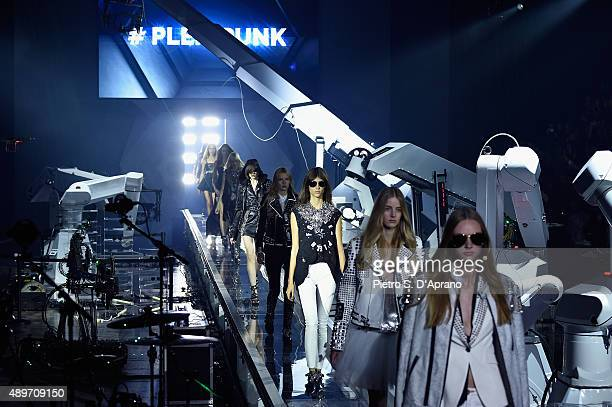 Models walk the runway during the Philipp Plein fashion show as part of Milan Fashion Week Spring/Summer 2016 on September 23 2015 in Milan Italy
