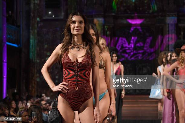 Models walk the runway during the PIN UP STARS show at New York Fashion Week Powered By Art Hearts Fashion at The Angel Orensanz Foundation on...