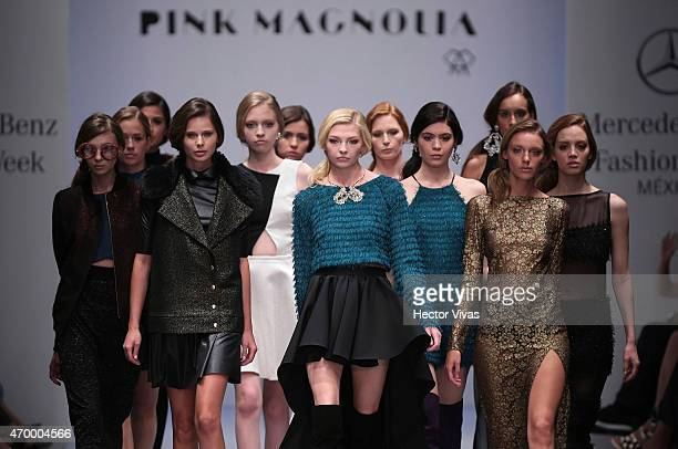 Models walk the runway during the Pink Magnolia Show as part of MercedesBenz Fashion Week Mexico Fall/Winter 2015 day 3 at Campo Marte on April 16...