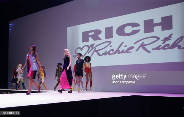 Models walk the runway during the Popoganda By Richie Rich during New York Fashion Week at The Theater at Madison Square Garden on February 9 2017 in...