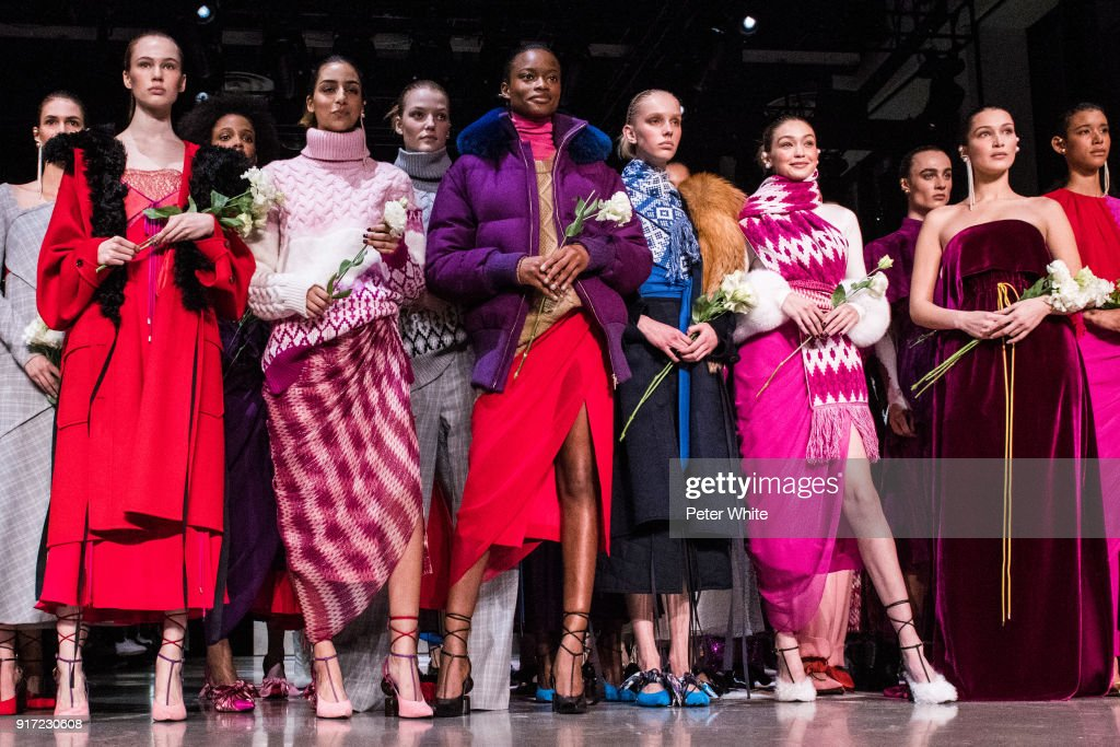 Models walk the runway during the Prabal Gurung fashion show during New York Fashion Week at Gallery I at Spring Studios on February 11, 2018 in New York City.