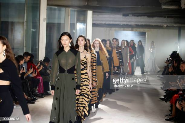 Models walk the runway during the Proenza Schouler RTW Fall Winter 2018 show as part of Paris Fashion Week on January 22 2018 in Paris France