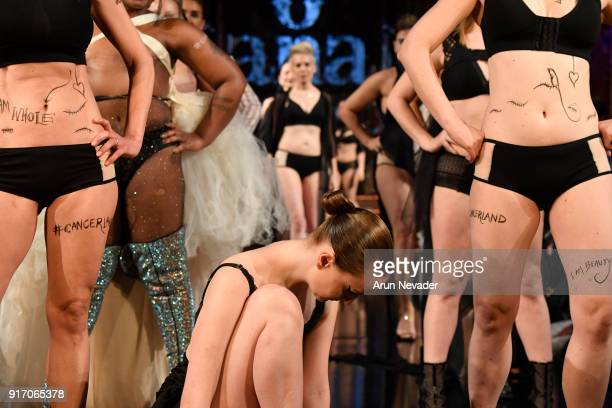 Models walk the runway during the Project Cancerland featuring AnaOno Initmates presentation finale during New York Fashion Week Powered by Art...