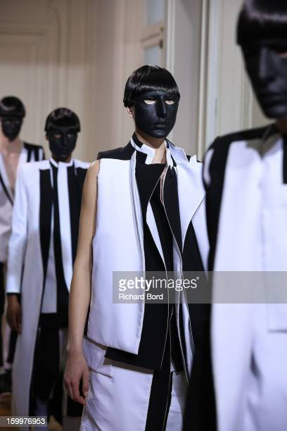 Models walk the runway during the Rad Hourani Spring/Summer 2013 HauteCouture show as part of Paris Fashion Week at Centre Culturel Canadien on...