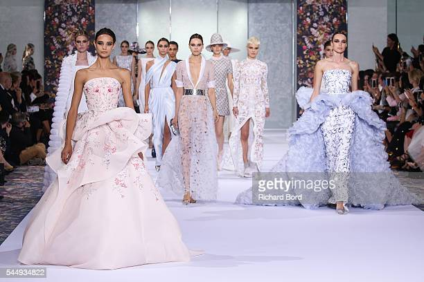 Models walk the runway during the Ralph Russo Haute Couture Fall/Winter 20162017 show as part of Paris Fashion Week on July 4 2016 in Paris France