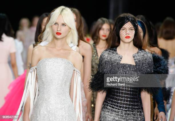 Models walk the runway during the Ralph Russo Spring Summer 2018 show as part of Paris Fashion Week on January 22 2018 in Paris France