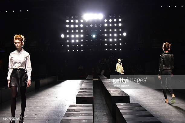 Models walk the runway during the rehearsal of the Carmen Marc Valvo Fall 2016 Show during New York Fashion Week The Shows at The Arc Skylight at...