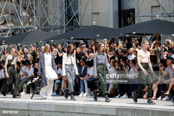 Models walk the runway during the Rick Owens Menswear Spring/Summer 2018 show as part of Paris Fashion Week on June 22 2017 in Paris France