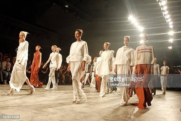 Models walk the runway during the Rick Owens Ready to Wear Spring / Summer 2012 show during Paris Fashion Week at Palais Omnisports de Bercy on...