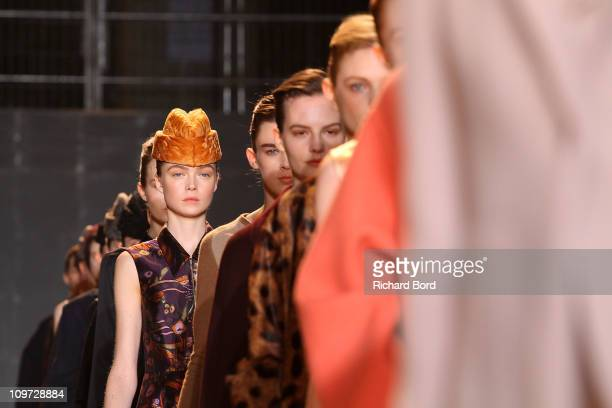 Models walk the runway during the Rochas Ready to Wear Autumn/Winter 2011/2012 show during Paris Fashion Week at Palais De Tokyo on March 2 2011 in...
