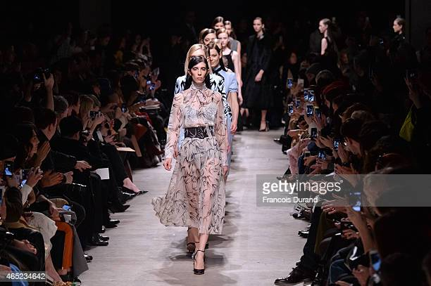 Models walk the runway during the Rochas show as part of the Paris Fashion Week Womenswear Fall/Winter 2015/2016 on March 4 2015 in Paris France