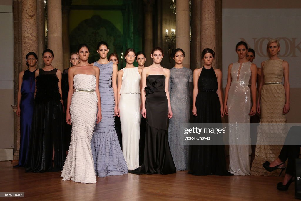 Models walk the runway during the Rolando Santana Spring/Summer 2013 fashion show at Casino Español on November 27, 2012 in Mexico City, Mexico.