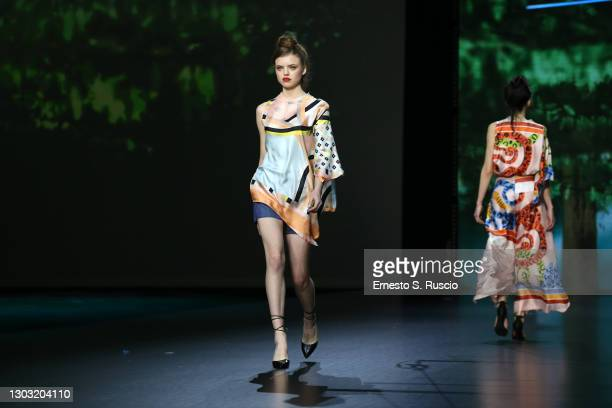 """Models walk the runway during the """"Rome Is My Runway"""" Collective Fashion Show at the Altaroma 2021 on February 20, 2021 in Rome, Italy."""