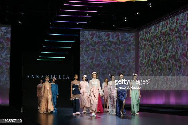 """Models walk the runway during the """"Rome Is My Runway"""" Collective Fashion Show featuring designs by Annagiulia Firenze, Eticlò, Gaiofatto and Pommes..."""