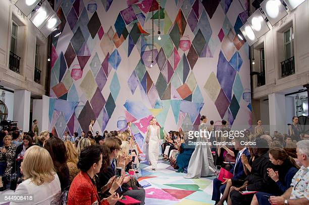 Models walk the runway during the Schiaparelli Haute Couture Fall/Winter 2016-2017 show as part of Paris Fashion Week on July 4, 2016 in Paris,...