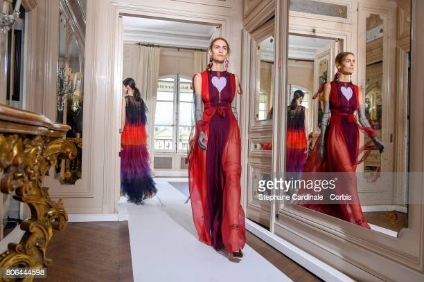 Models walk the runway during the Schiaparelli Haute Couture Fall/Winter 2017-2018 show as part of Haute Couture Paris Fashion Week on July 3, 2017...