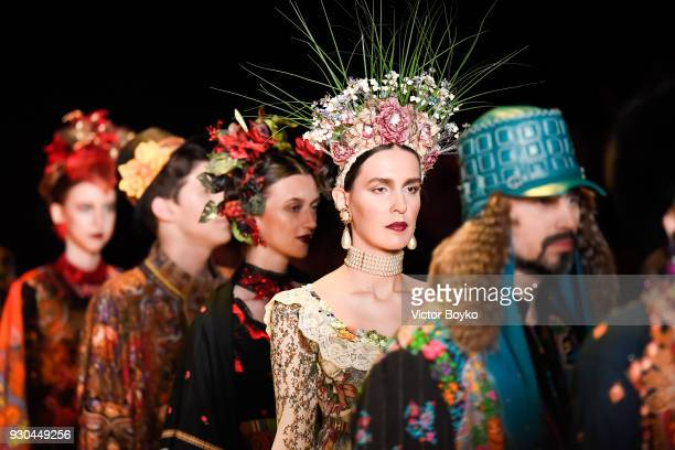 Models walk the runway during the Slava Zaitsev fashion show at Mercedes Benz Fashion Week Russia Fall/Winter 2018/19 at Manege at Manege on March 10...