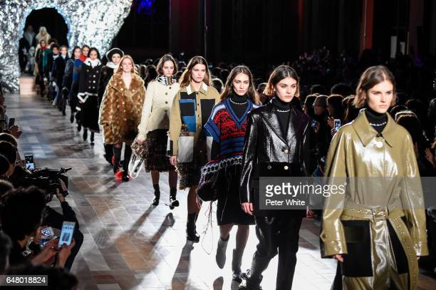 Models walk the runway during the Sonia Rykiel show as part of the Paris Fashion Week Womenswear Fall/Winter 2017/2018 on March 4 2017 in Paris France