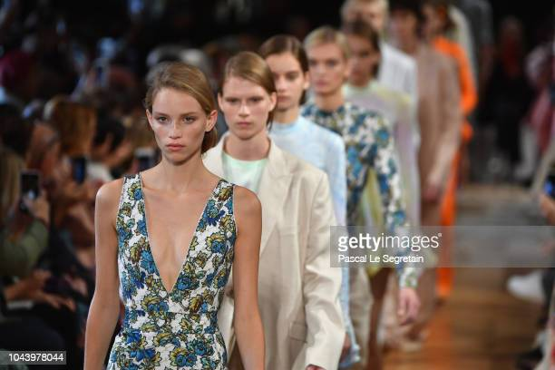 Models walk the runway during the Stella McCartney show as part of the Paris Fashion Week Womenswear Spring/Summer 2019 on October 1 2018 in Paris...