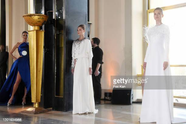 Models walk the runway during the Stephane Rolland Haute Couture Spring/Summer 2020 show as part of Paris Fashion Week on January 21, 2020 in Paris,...